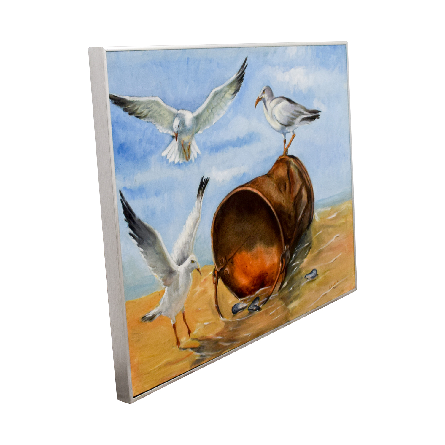 Three Seagulls with Oyster Bucket on Beach Painting / Decor