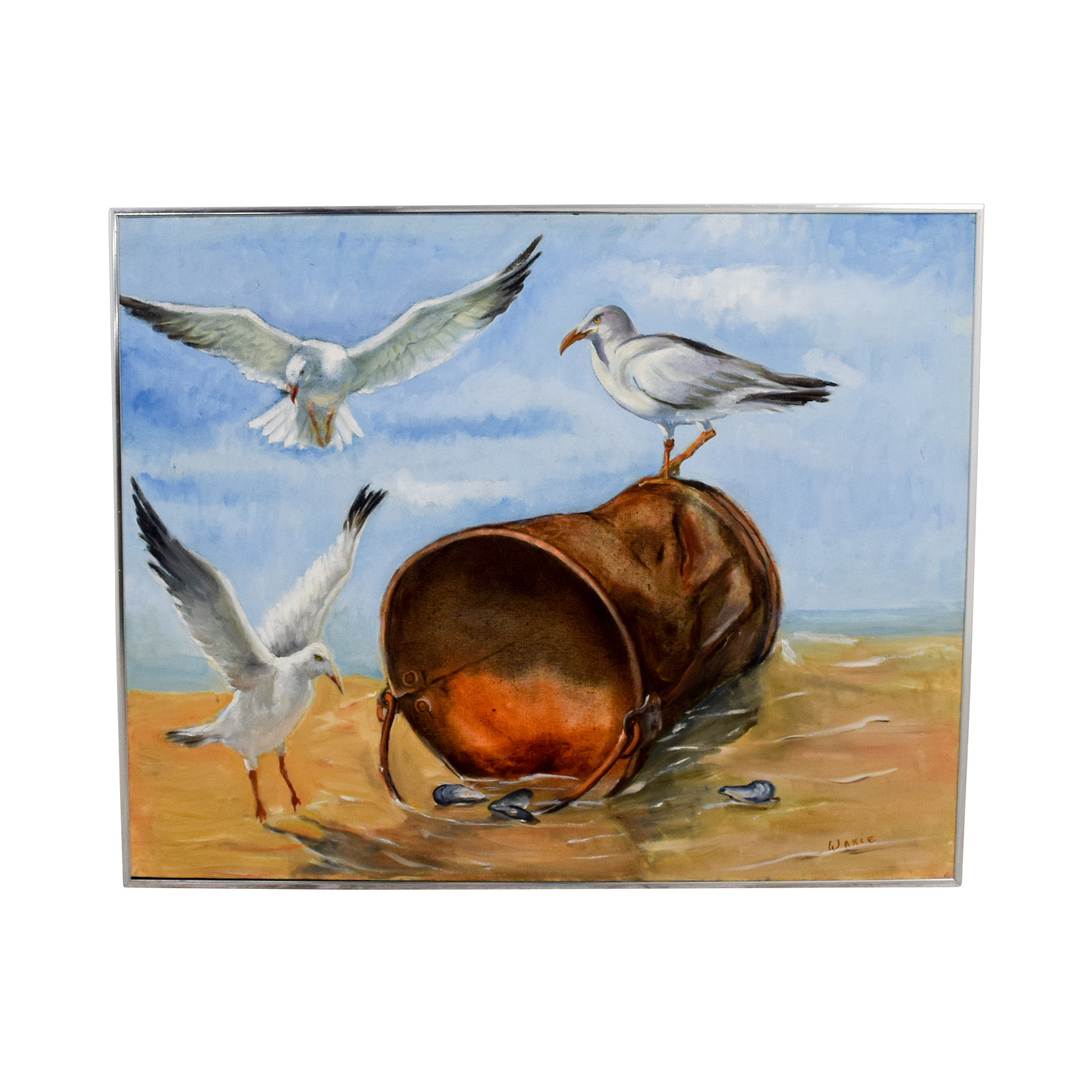 Three Seagulls with Oyster Bucket on Beach Painting