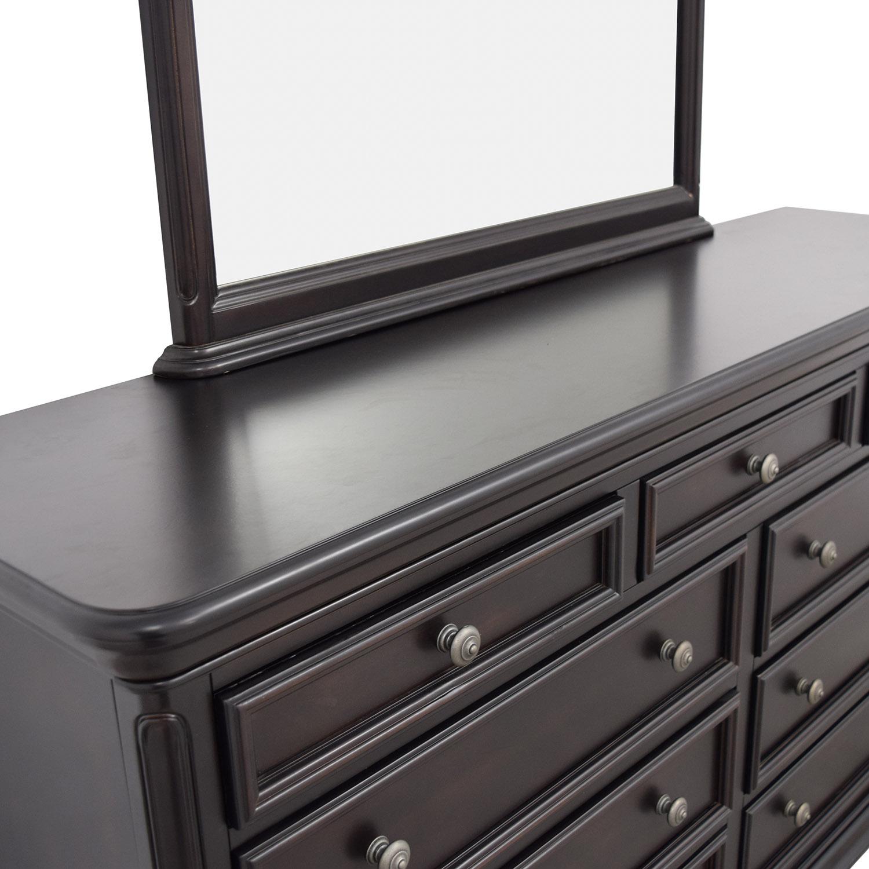 Raymour & Flanigan Raymour & Flanigan Mahogany Nine-Drawer Dresser with Mirror for sale