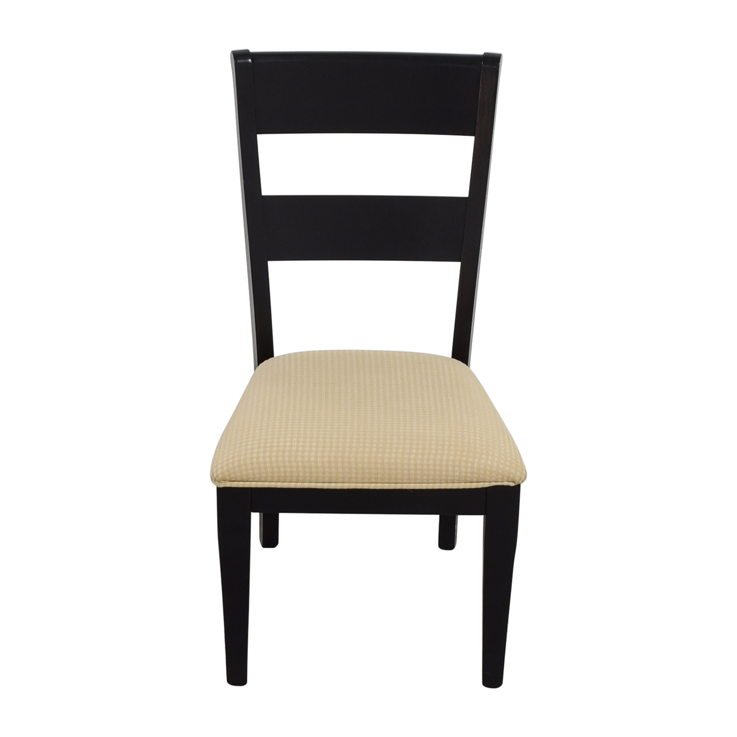 Raymour & Flanigan Raymour & Flanigan Black Chair with Beige Check Upholstery Chairs