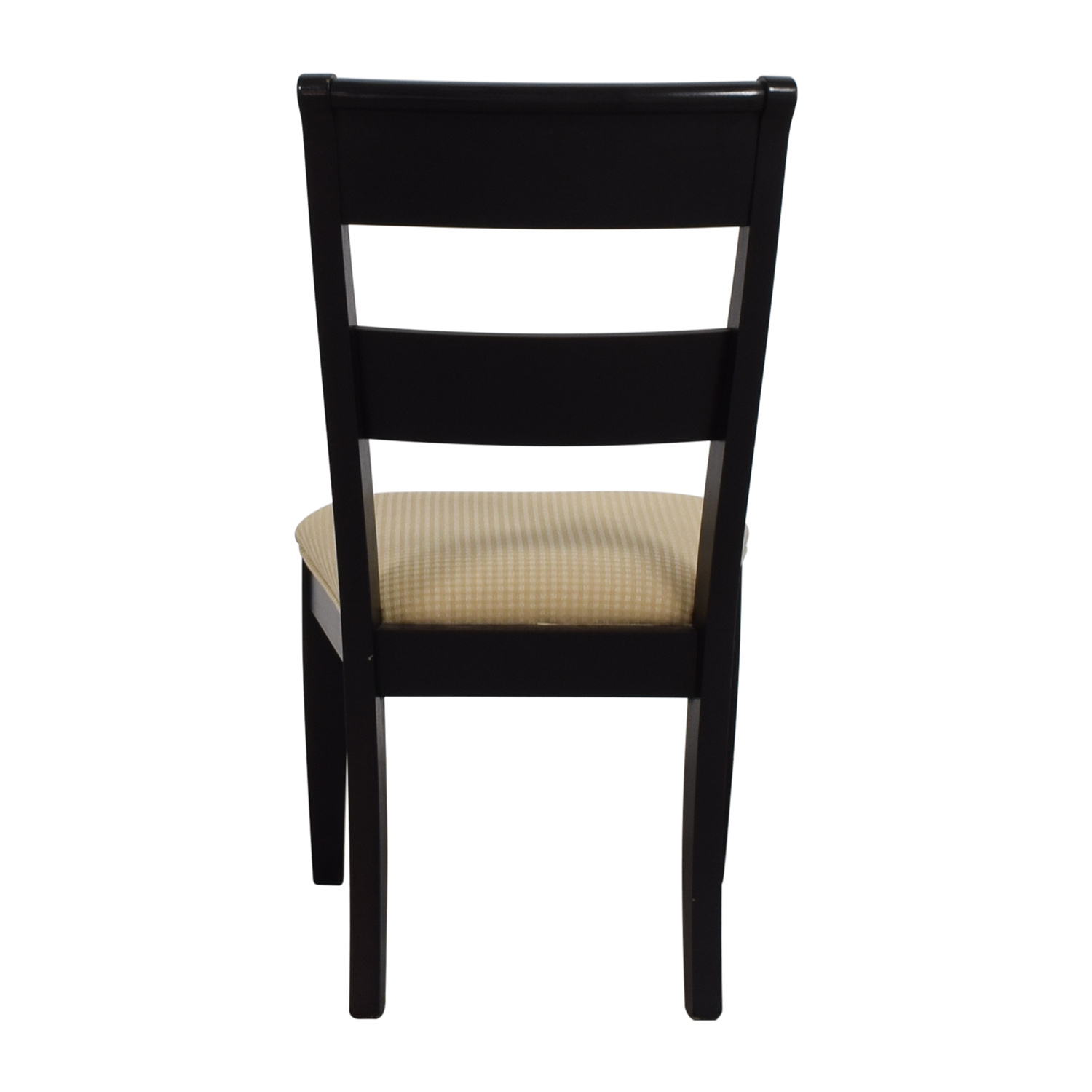Raymour & Flanigan Raymour & Flanigan Black Chair with Beige Check Upholstery