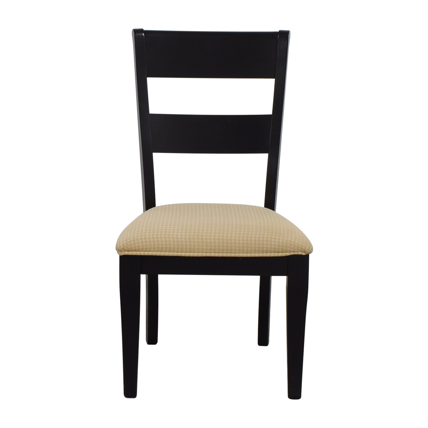 Raymour & Flanigan Black Chair with Beige Check Upholstery Raymour & Flanigan
