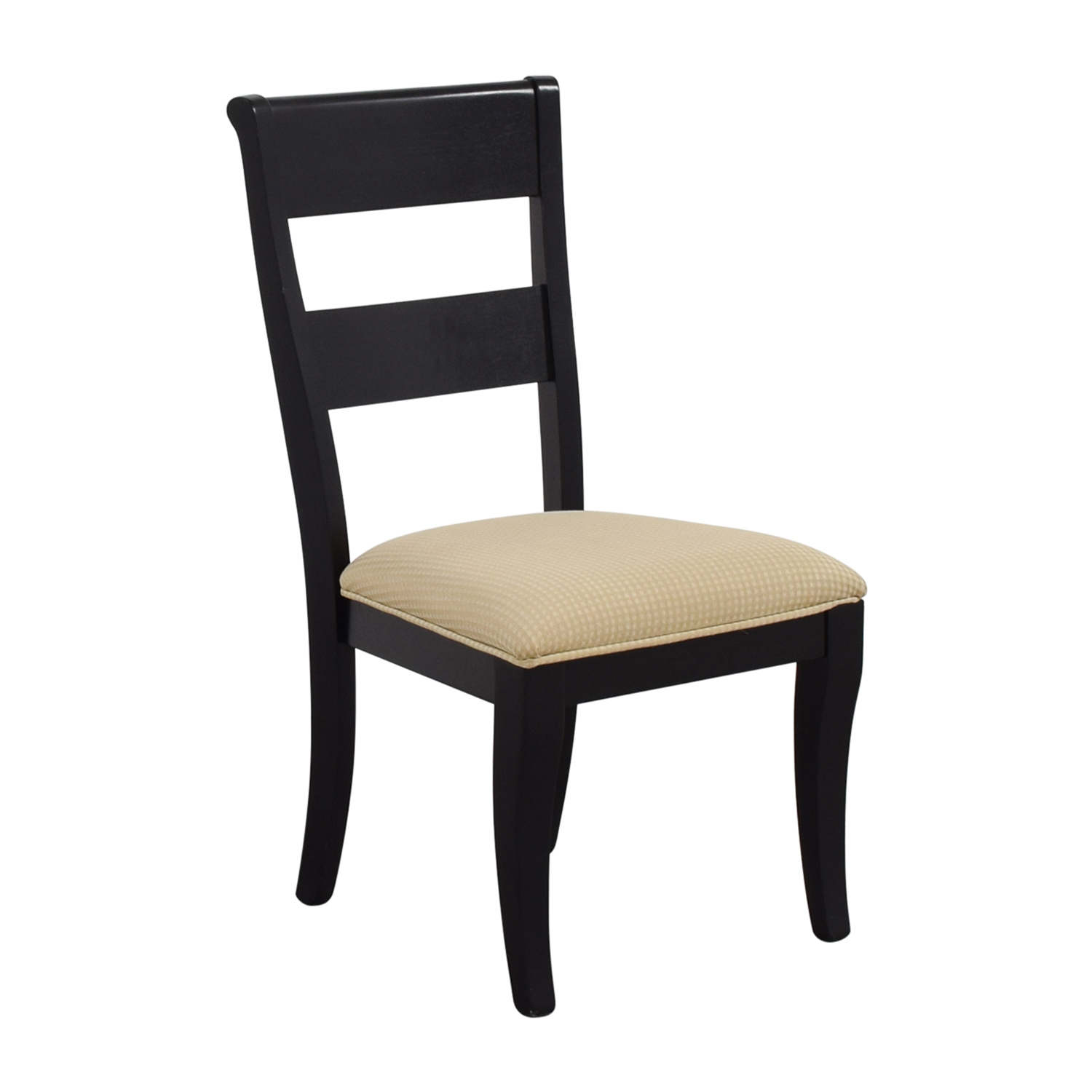 shop Raymour & Flanigan Raymour & Flanigan Black Chair with Beige Check Upholstery online