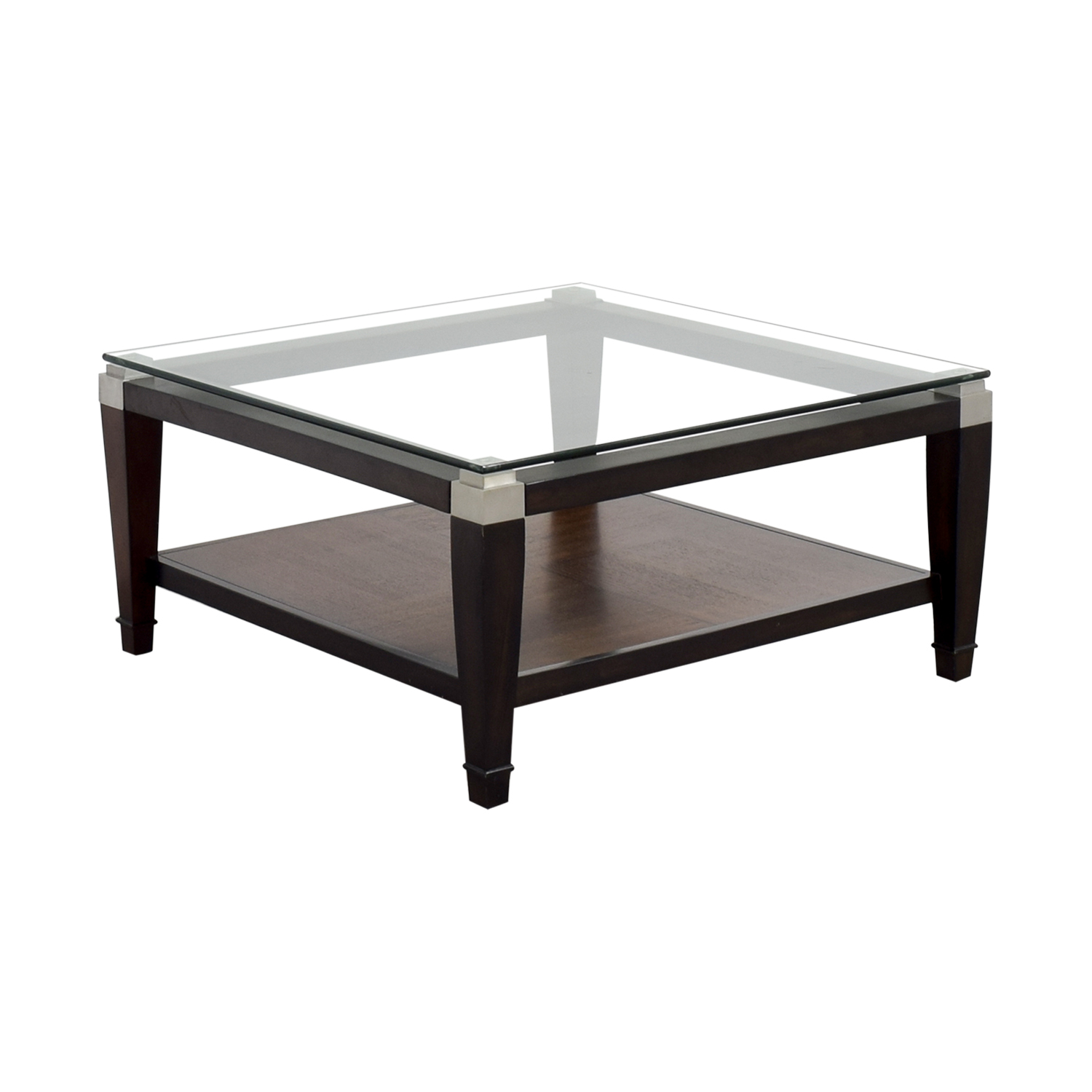 78 Off Raymour And Flanigan Raymour Flanigan Wood And Glass Coffee Table Tables