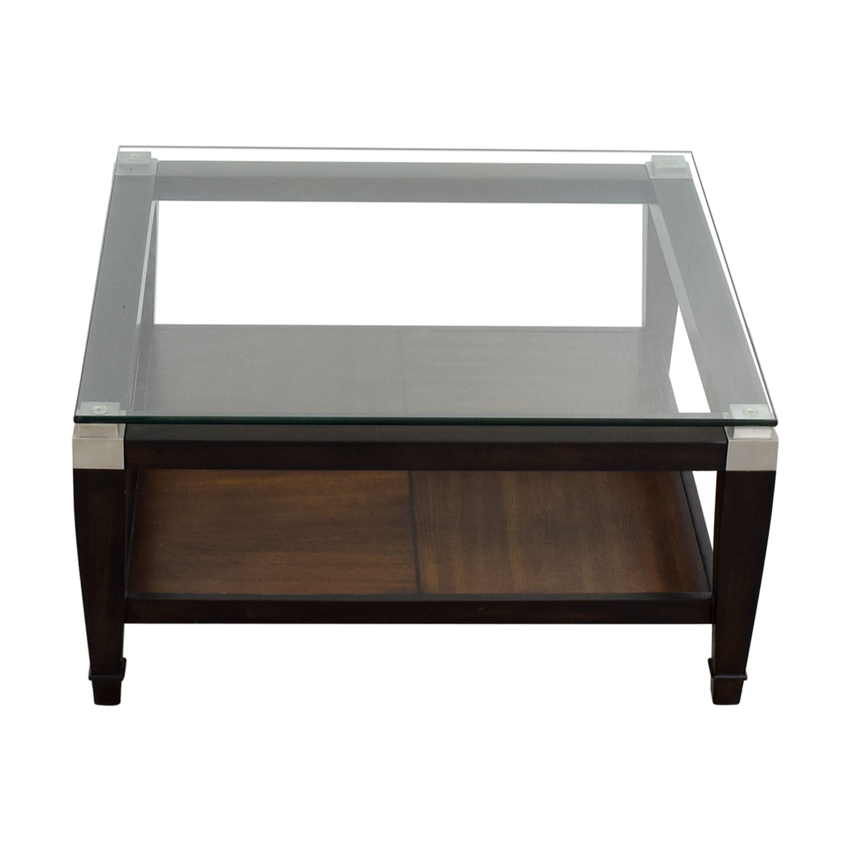 Raymour and Flanigan Raymour & Flanigan Wood and Glass Coffee Table nyc