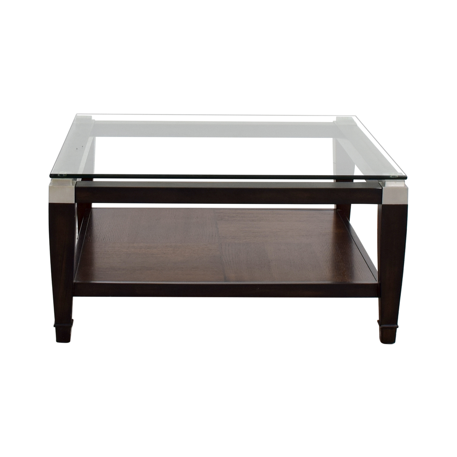 Raymour and Flanigan Raymour & Flanigan Wood and Glass Coffee Table on sale
