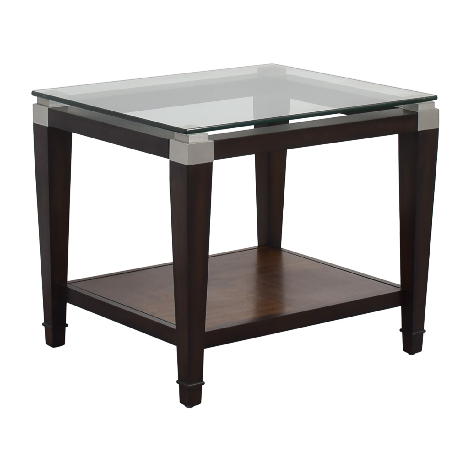 Raymour and Flanigan Raymour & Flanigan Wood and Glass Lamp Table discount