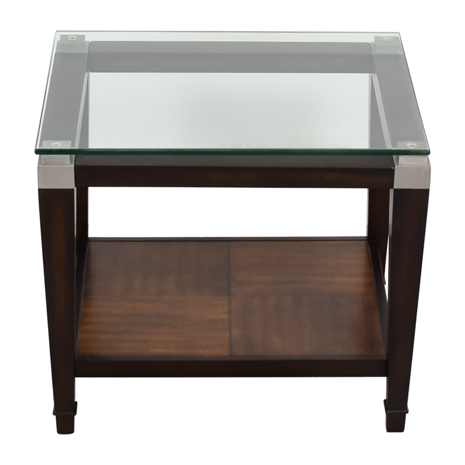 shop Raymour & Flanigan Wood and Glass Lamp Table Raymour and Flanigan End Tables