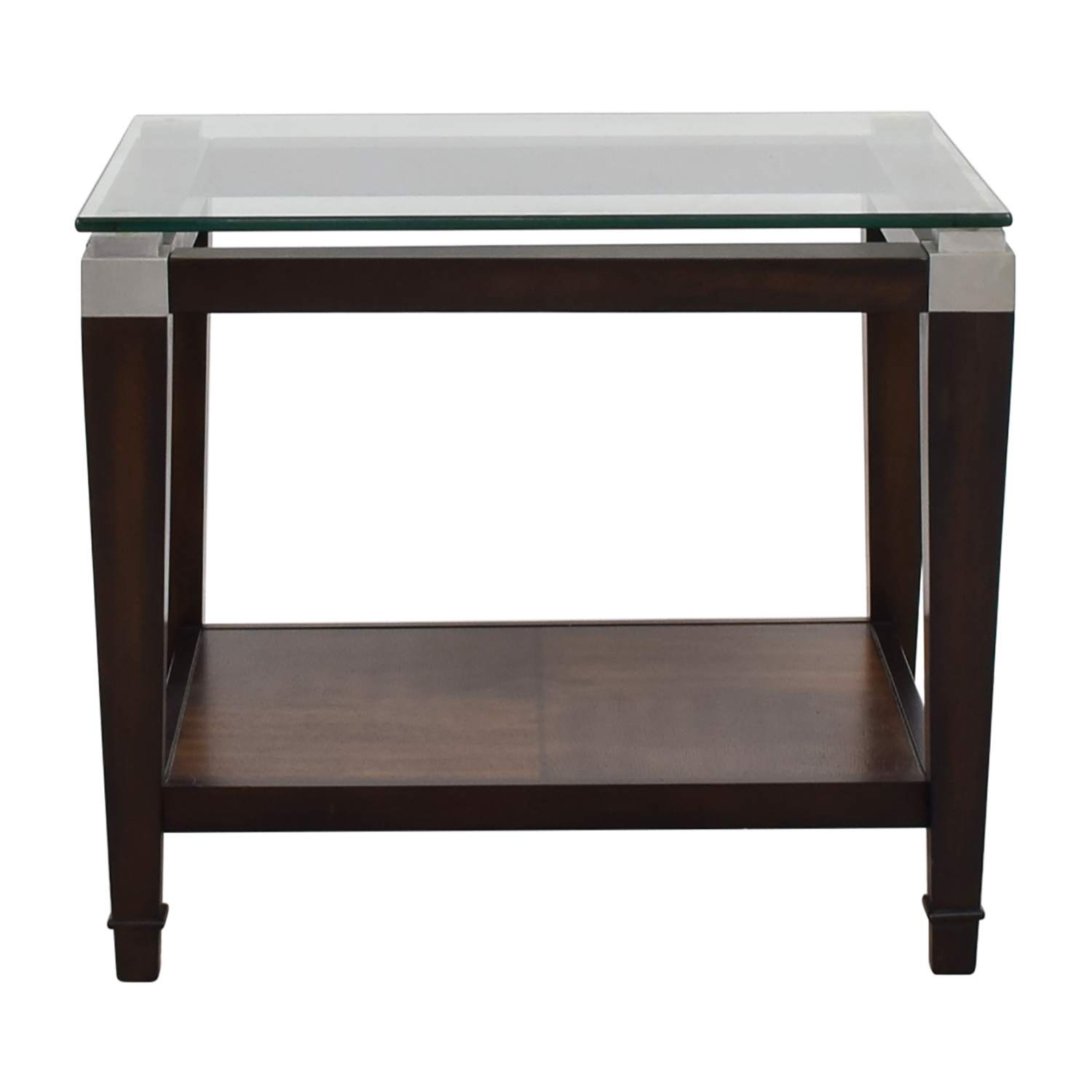 Raymour and Flanigan Raymour & Flanigan Wood and Glass Lamp Table End Tables