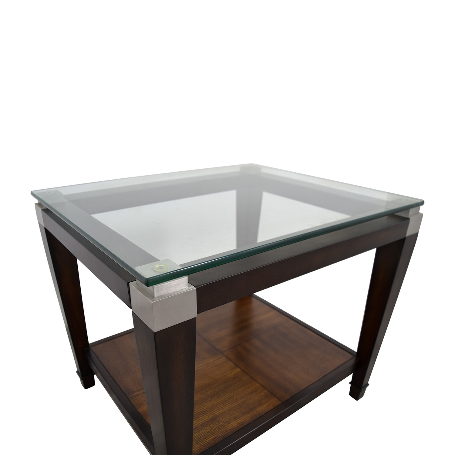 buy Raymour & Flanigan Wood and Glass Lamp Table Raymour and Flanigan End Tables