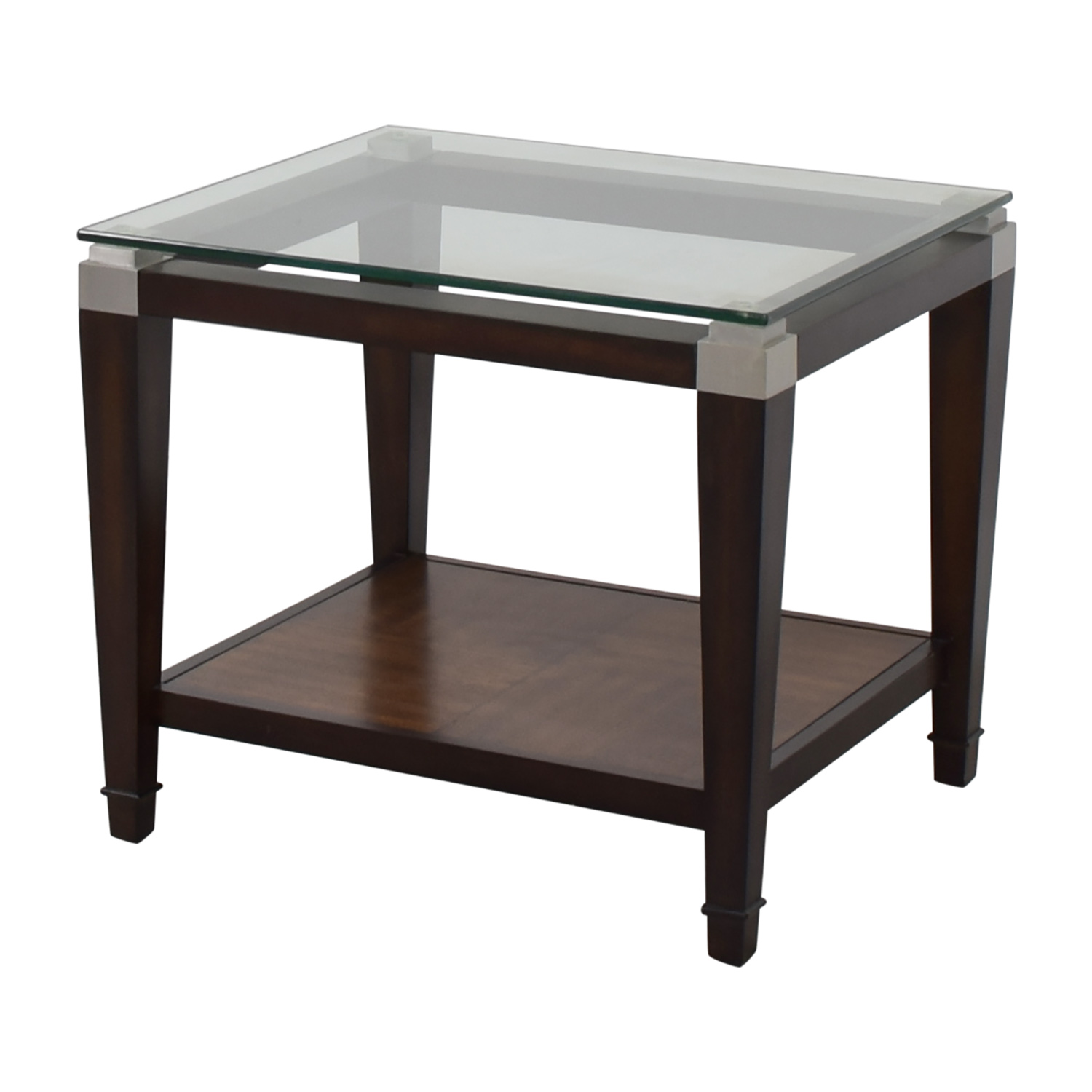 buy Raymour and Flanigan Raymour & Flanigan Wood and Glass Lamp Table online
