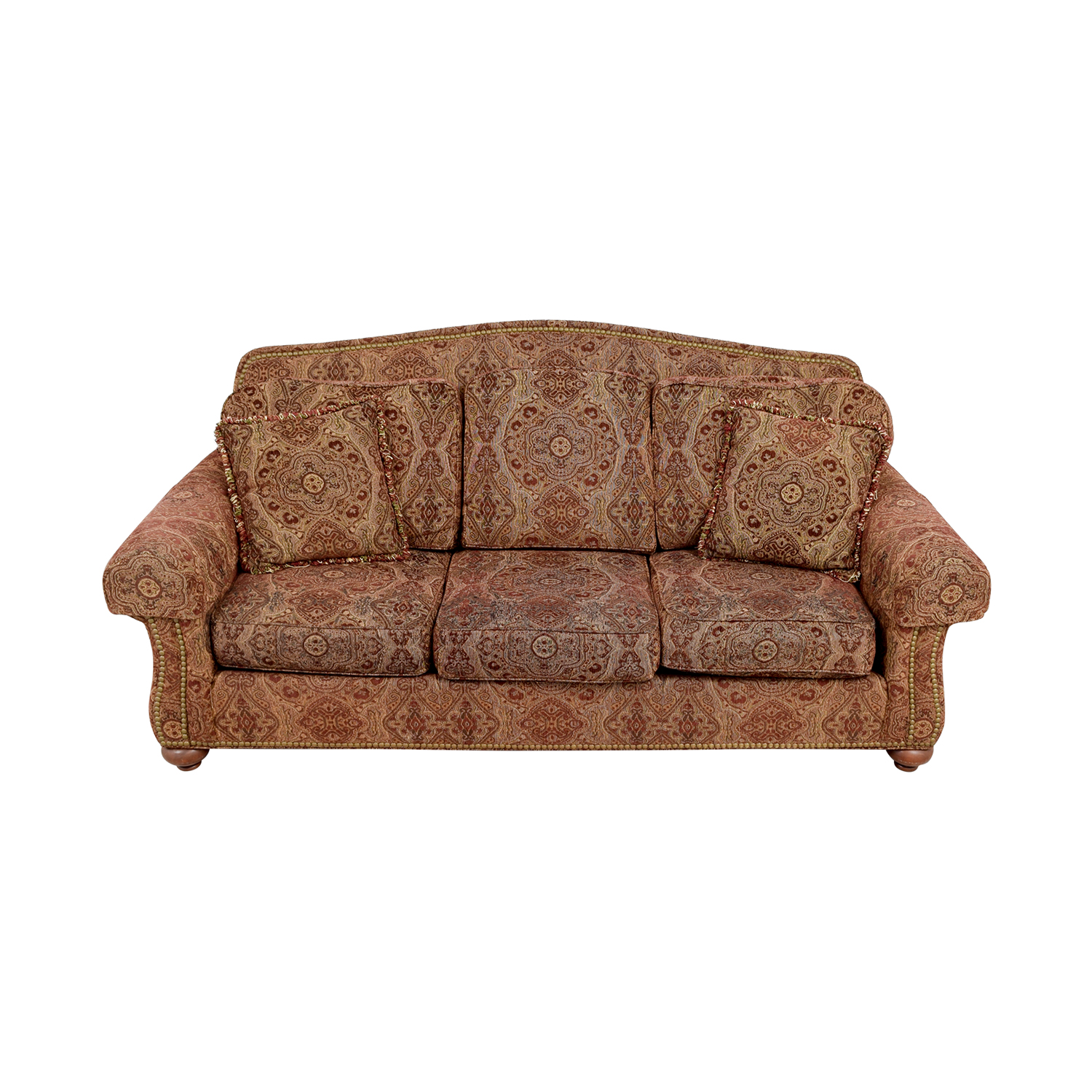 Ethan Allen Whitney Paisley Nailhead Couch sale