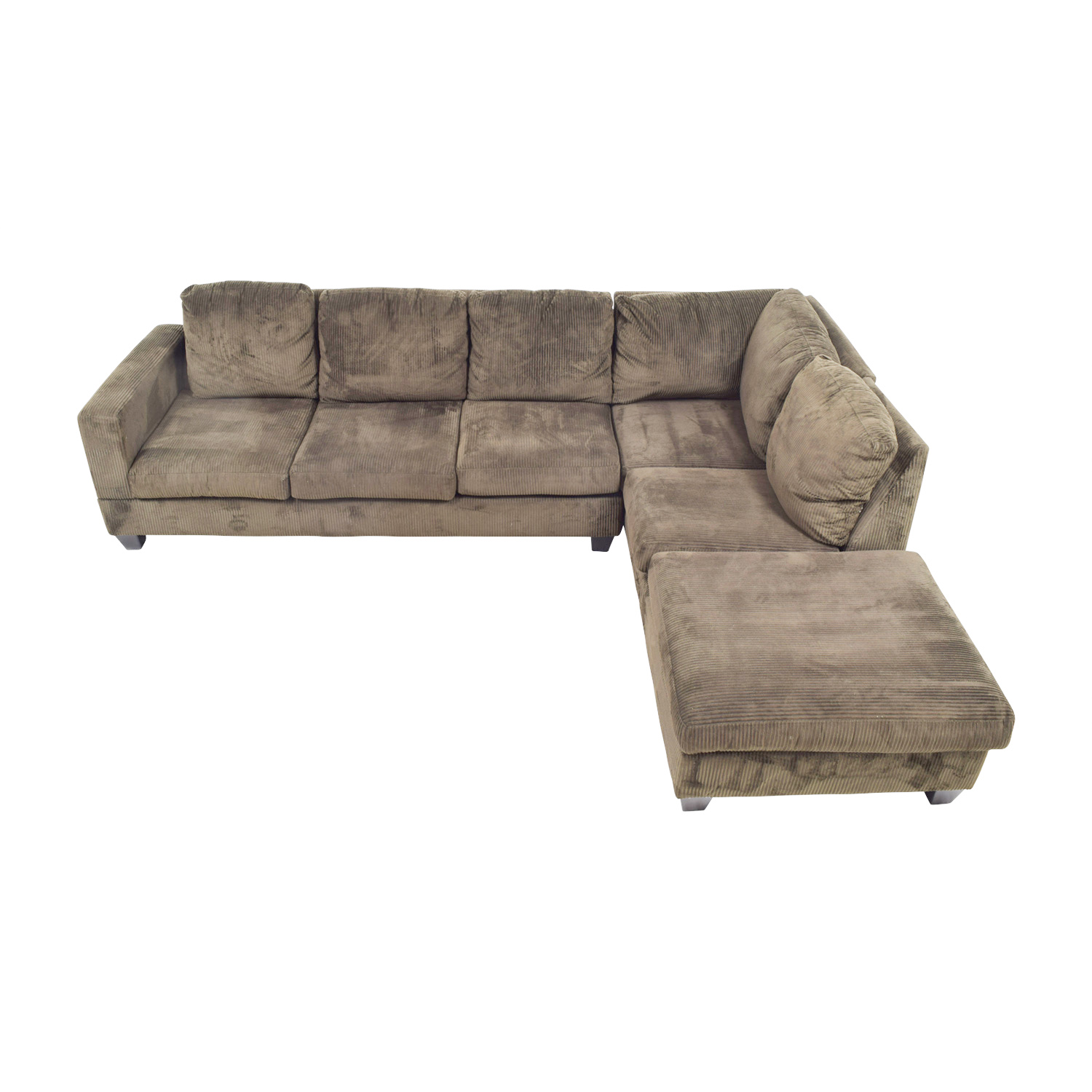 Jennifer Convertibles Jennifer Convertibles Corduroy Brown Sectional Sofas