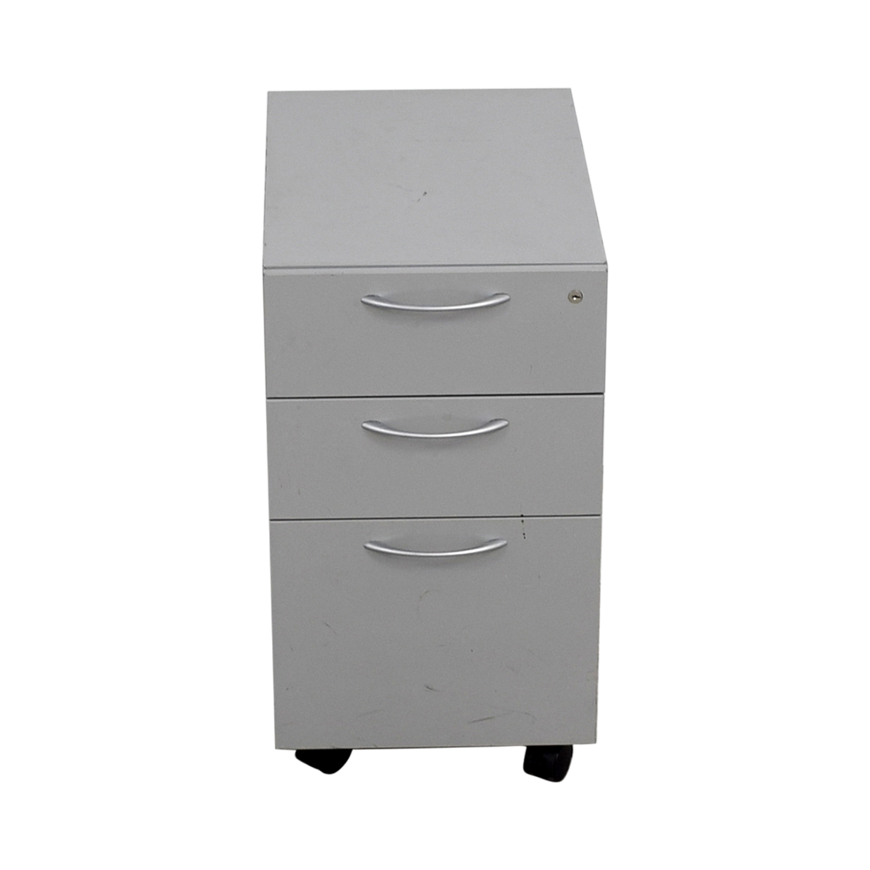 Allsteel Allsteel Light Grey Two-Drawer Cabinet on Casters Filing & Bins