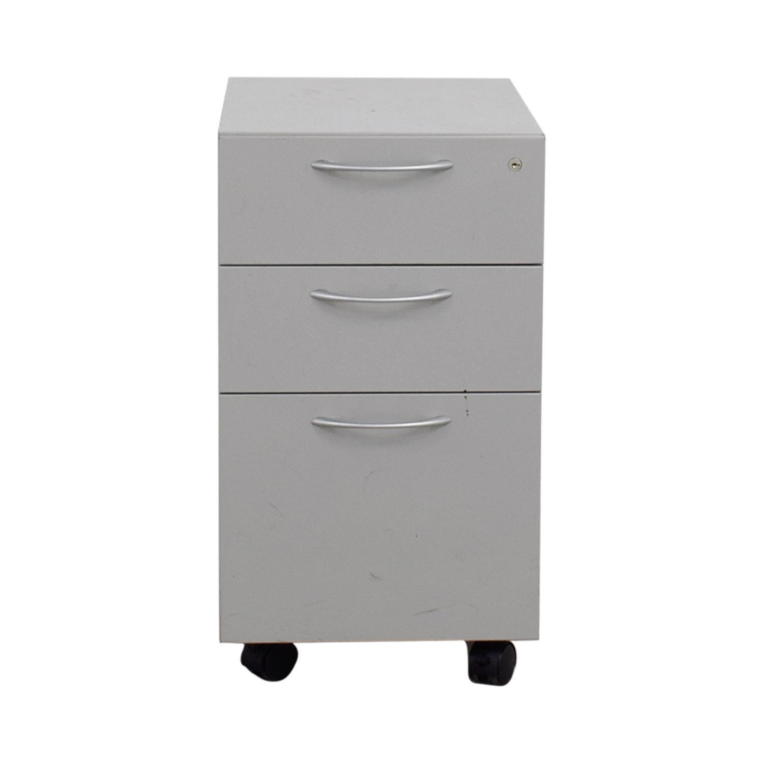 Allsteel Light Grey Two-Drawer Cabinet on Casters sale