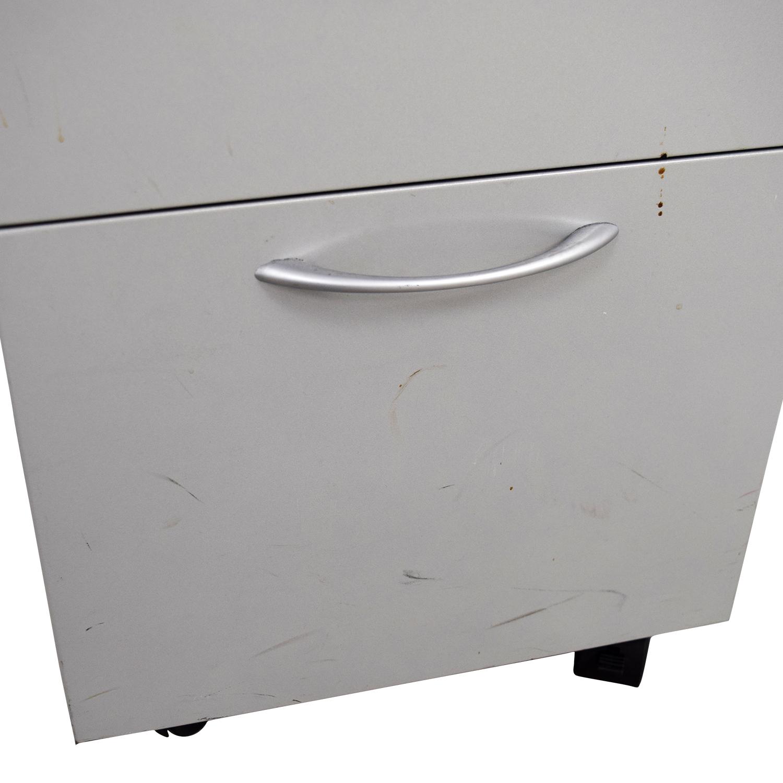 shop Allsteel Light Grey Two-Drawer Cabinet on Casters Allsteel Filing & Bins
