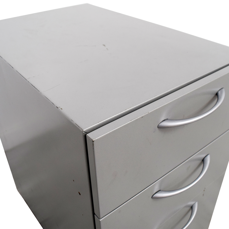 buy Allsteel Light Grey Two-Drawer Cabinet on Casters Allsteel Filing & Bins