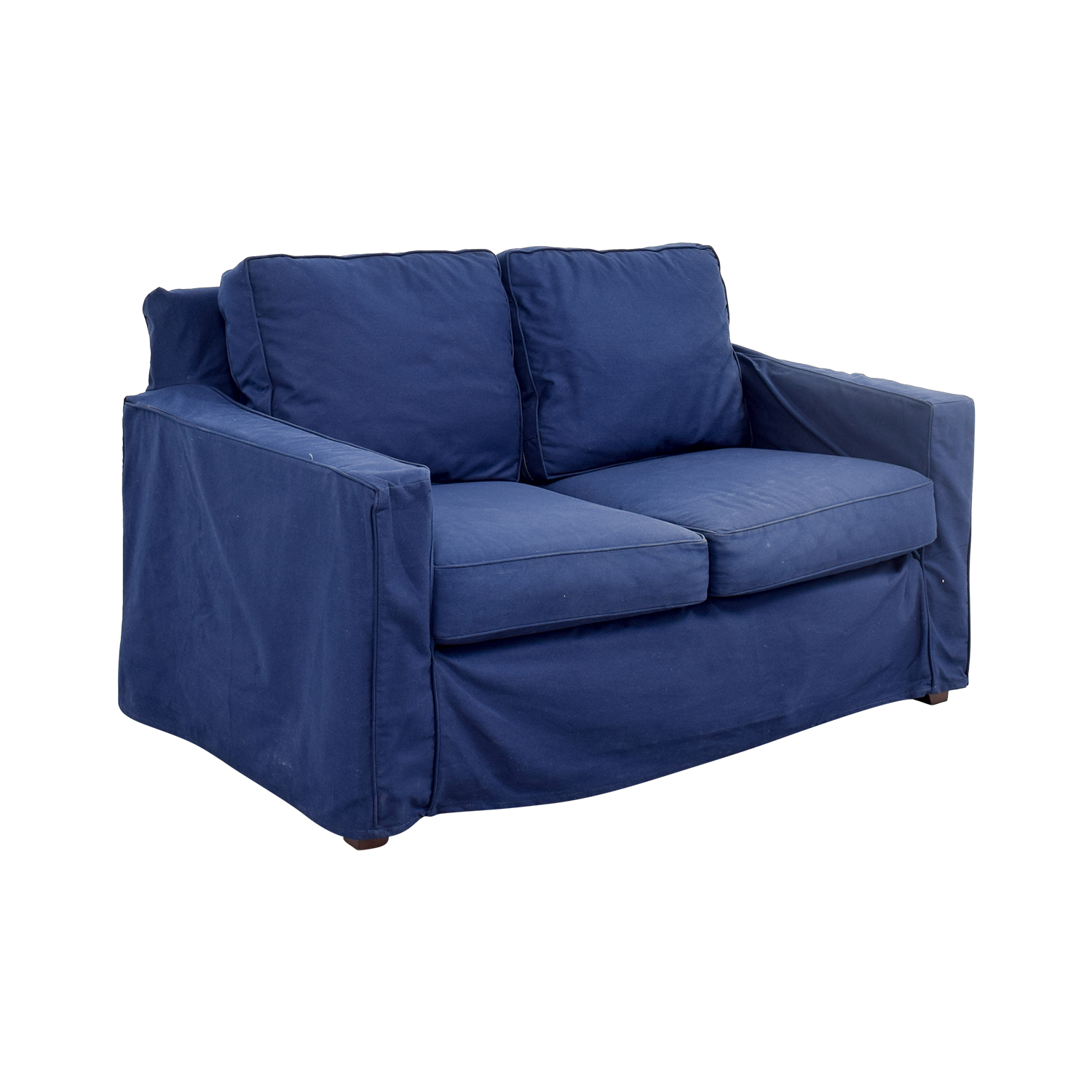 shop Pottery Barn Cameron Navy Twill Slipcovered Loveseat Pottery Barn