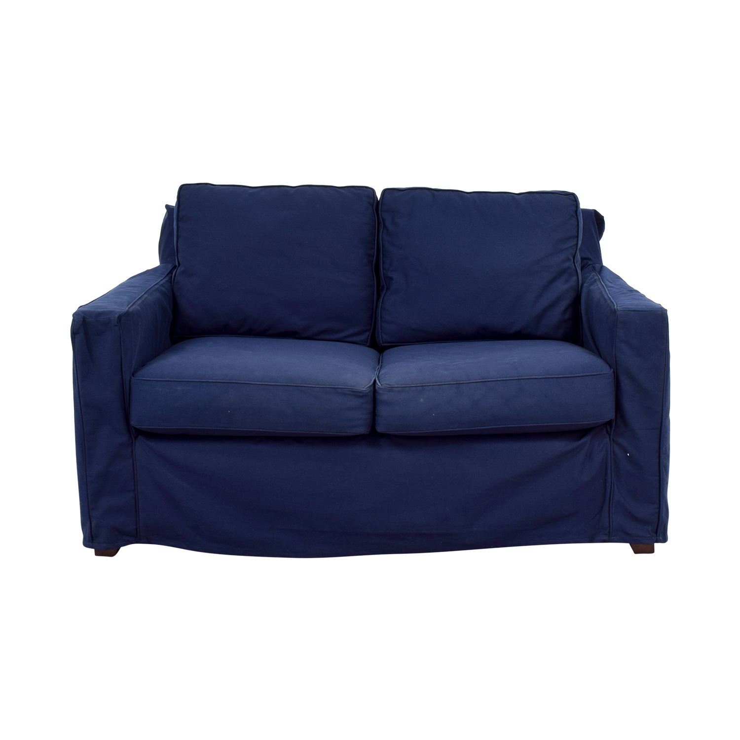 Pottery Barn Cameron Navy Twill Slipcovered Loveseat sale
