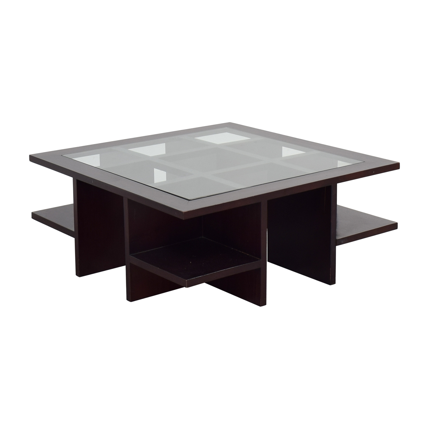 Moie Moie Wood and Glass Coffee Table with Side Shelves Tables