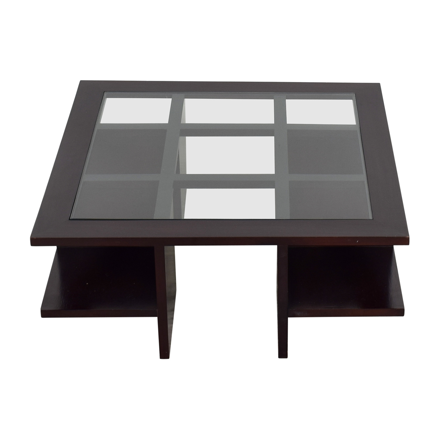 Moie Wood and Glass Coffee Table with Side Shelves sale