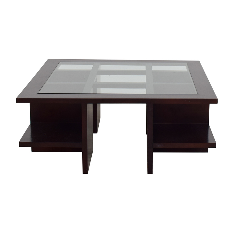 Moie Moie Wood and Glass Coffee Table with Side Shelves for sale