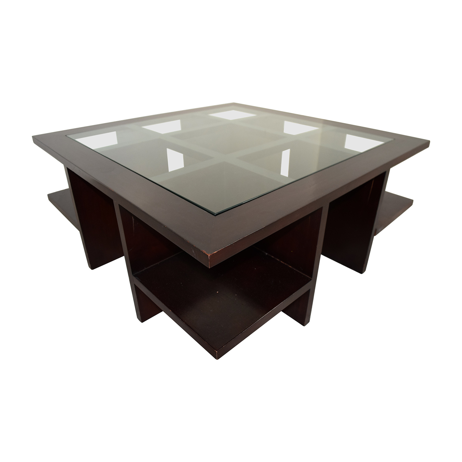 buy Moie Moie Wood and Glass Coffee Table with Side Shelves online