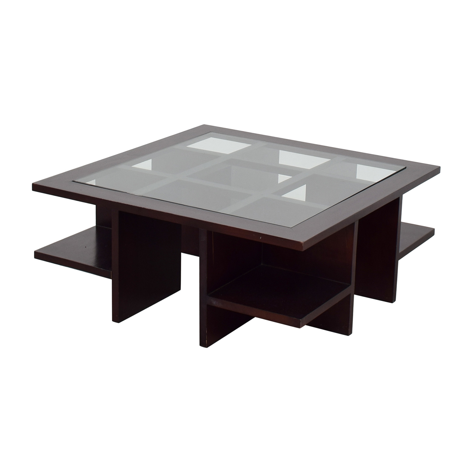 88 off moie moie wood and glass coffee table with side shelves tables Used glass coffee table