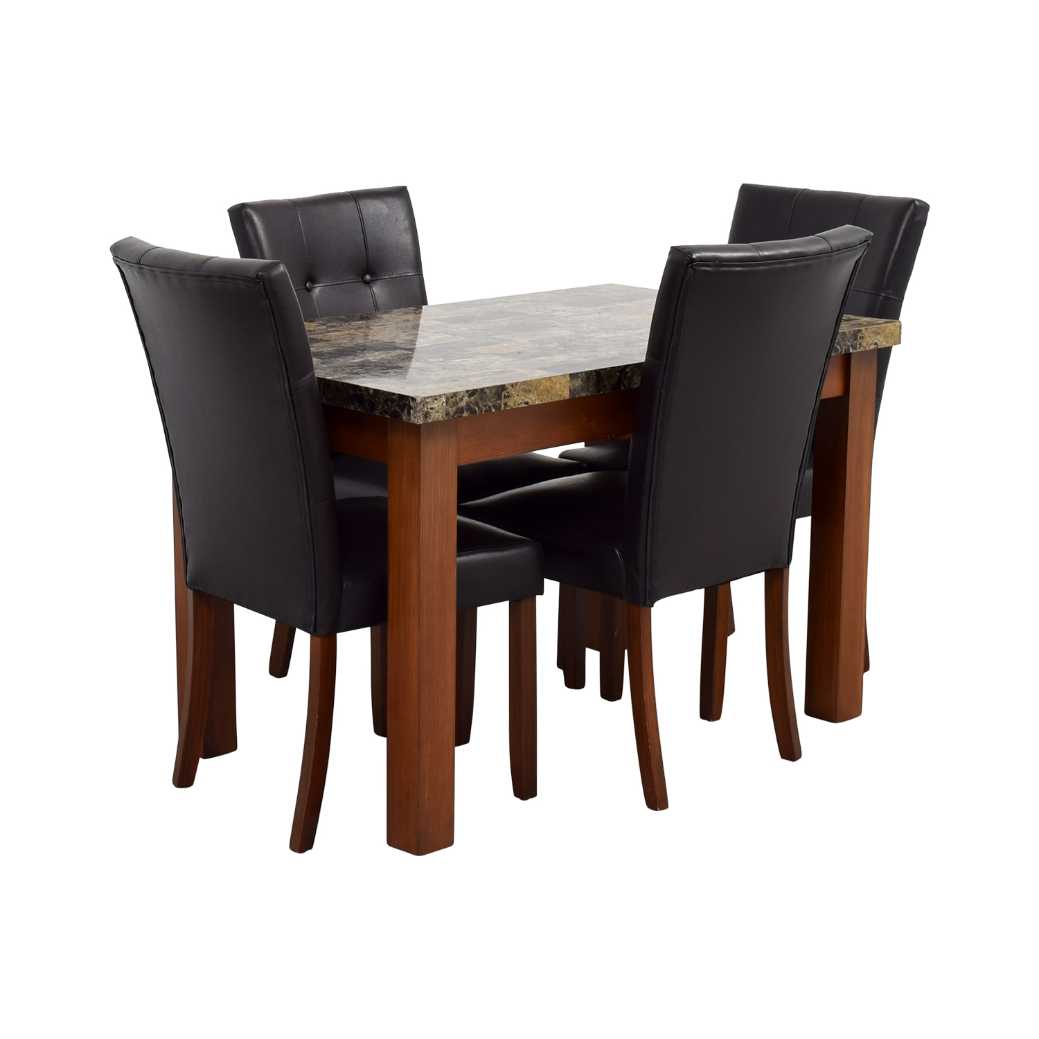 Charmant 62% OFF   Faux Marble Dining Table With Brown Tufted Leather Chairs / Tables