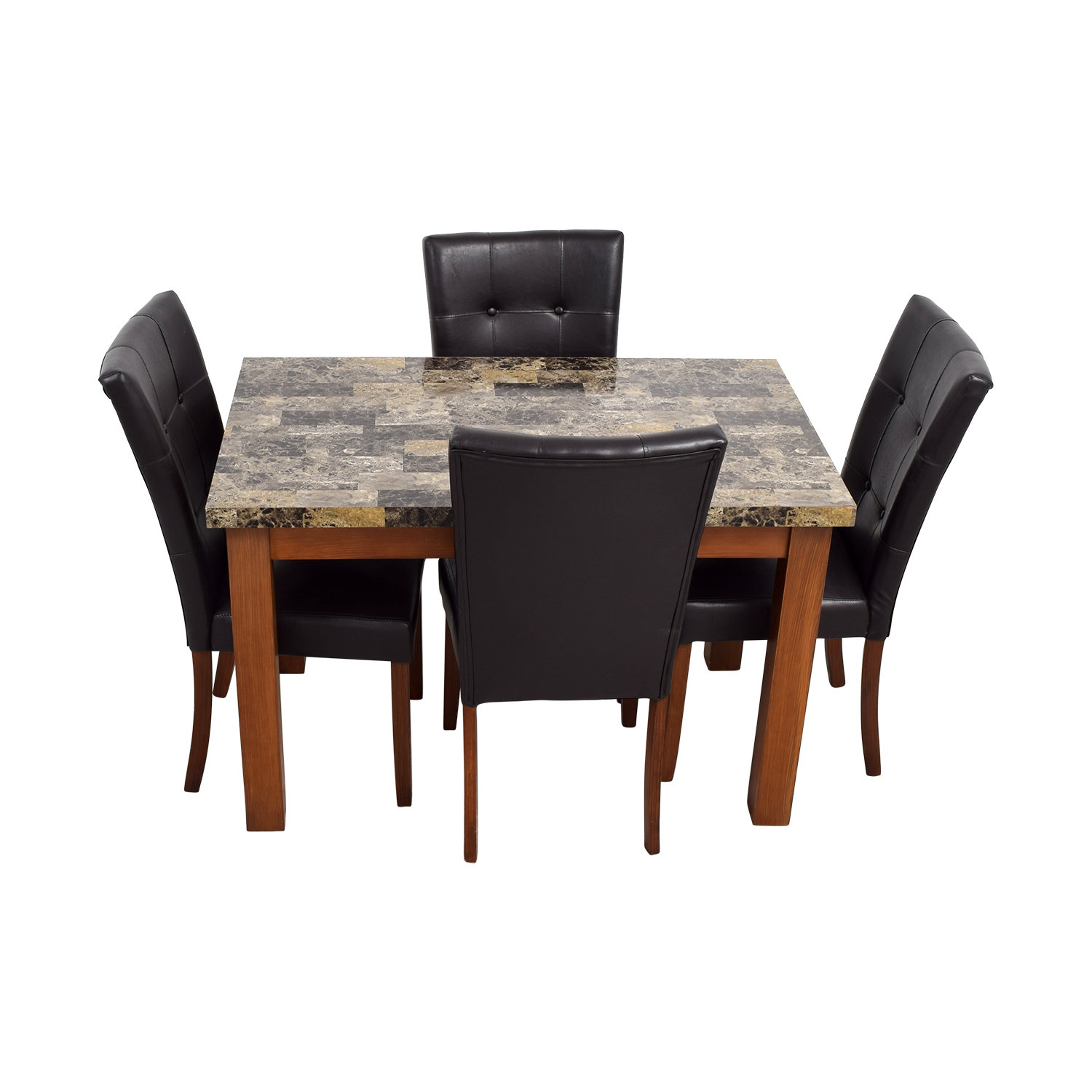 Faux Marble Dining Table with Brown Tufted Leather Chairs nyc