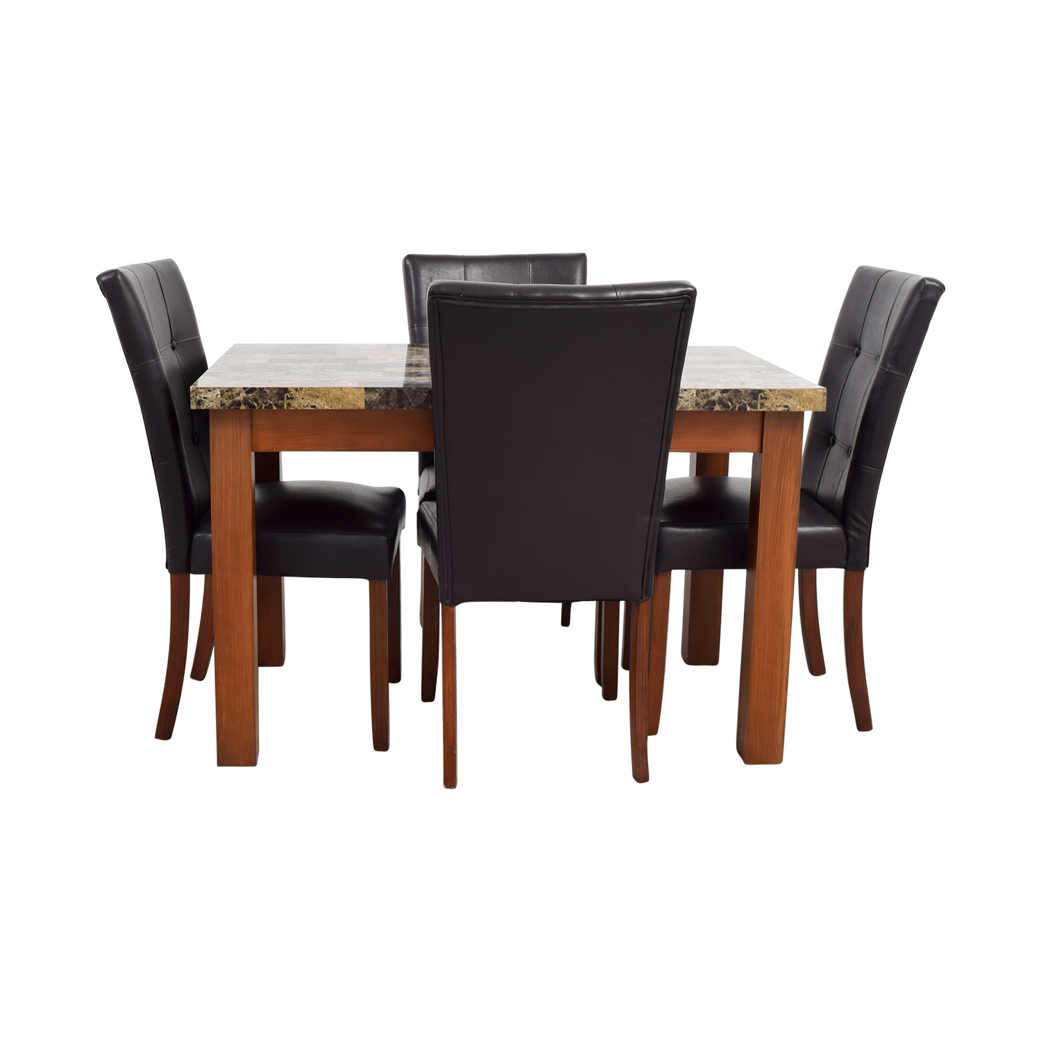shop Faux Marble Dining Table with Brown Tufted Leather Chairs Tables