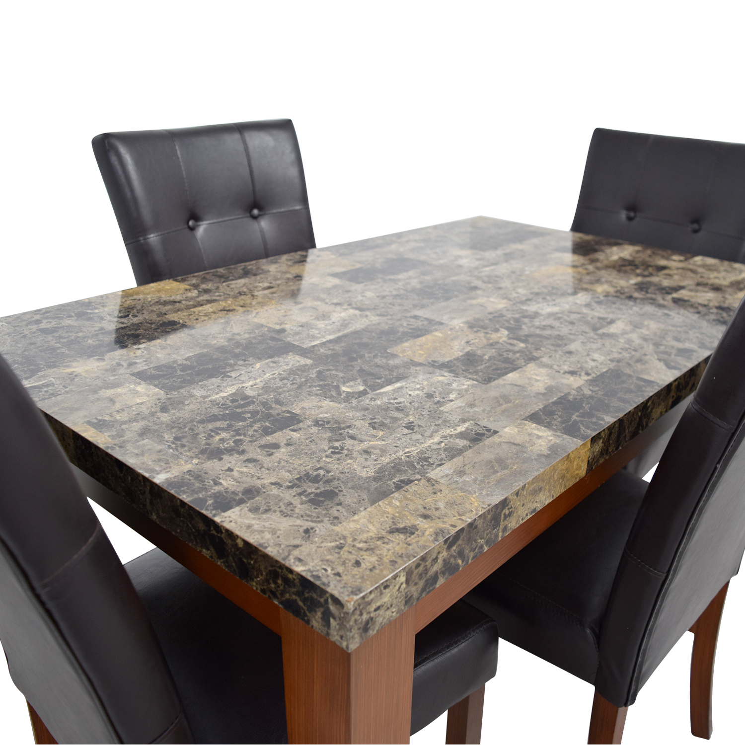 Faux Marble Dining Table with Brown Tufted Leather Chairs used