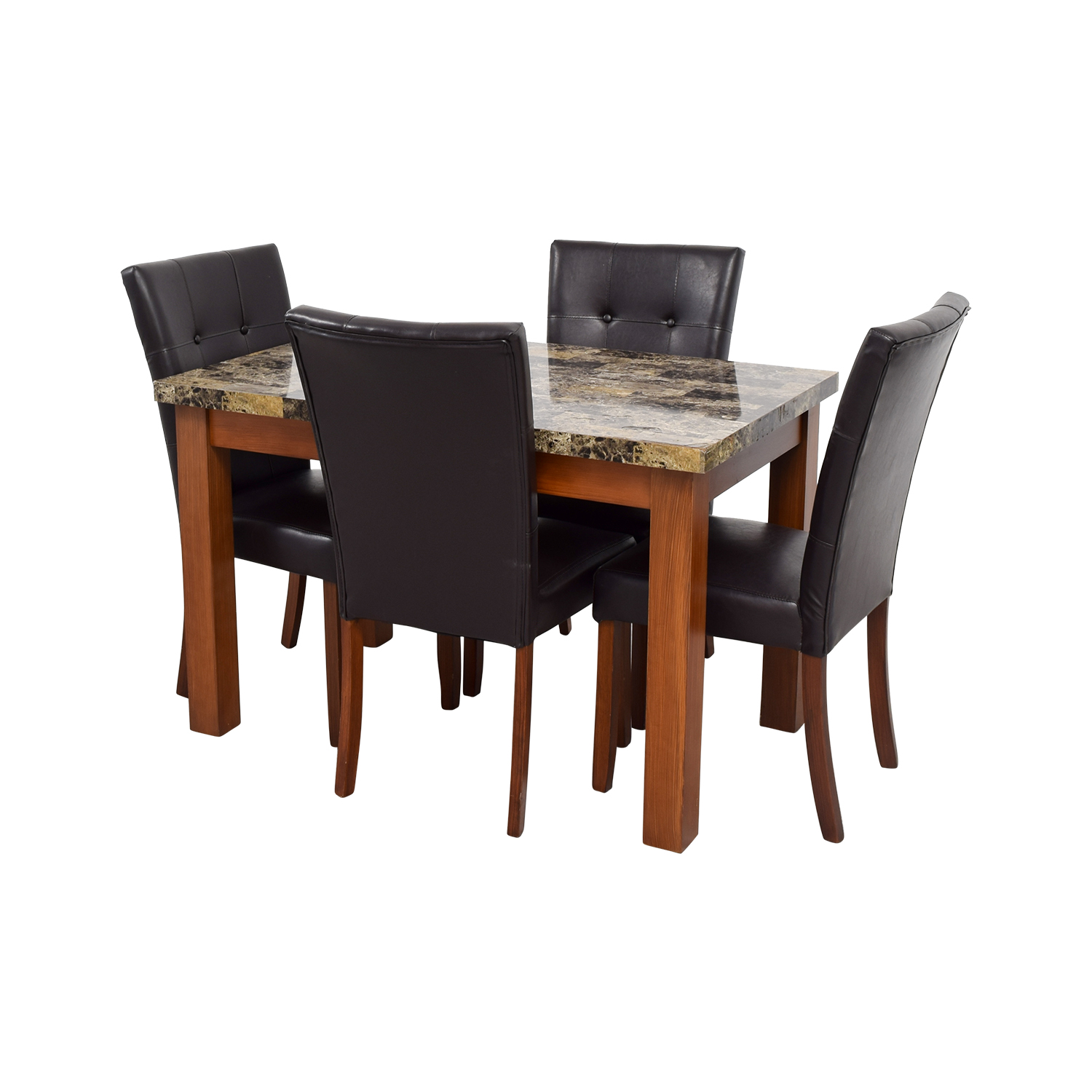 buy Faux Marble Dining Table with Brown Tufted Leather Chairs