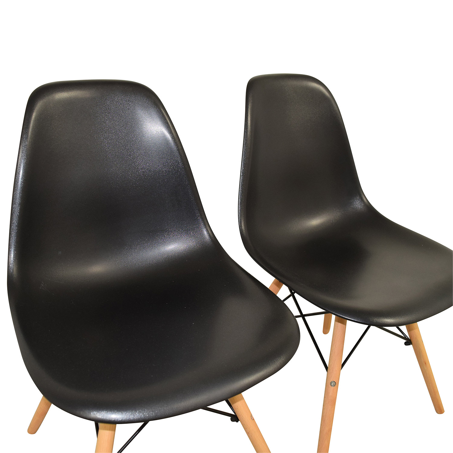 shop CB2 Black and Beech Wood Chairs CB2
