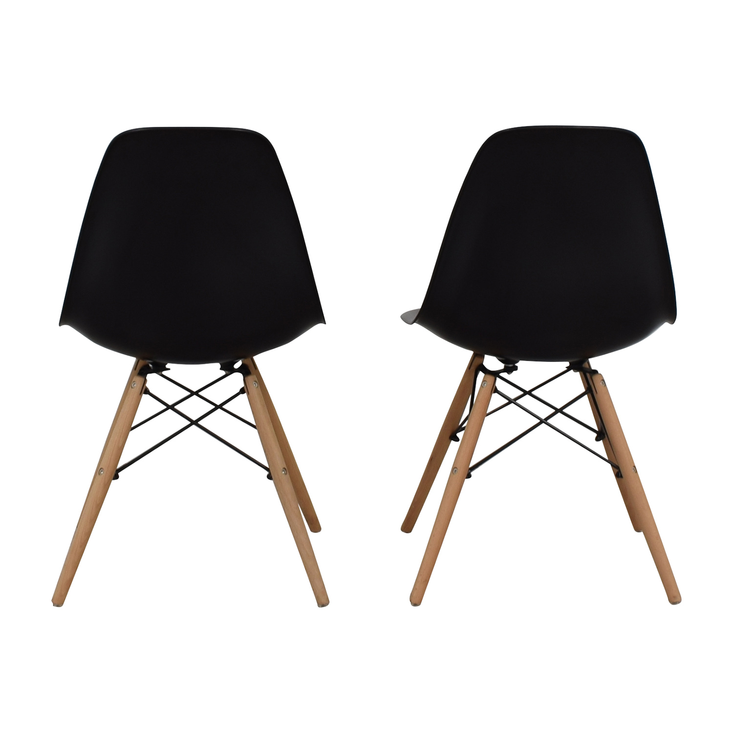 CB2 CB2 Black and Beech Wood Chairs used