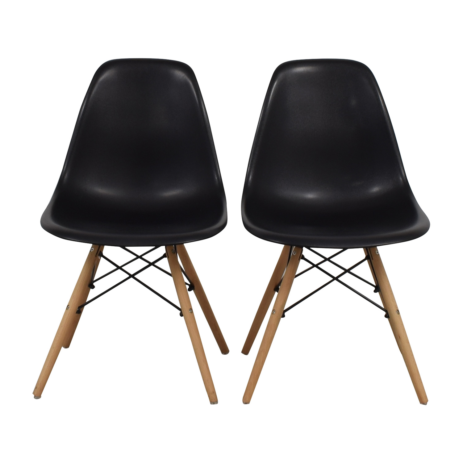 CB2 CB2 Black and Beech Wood Chairs second hand