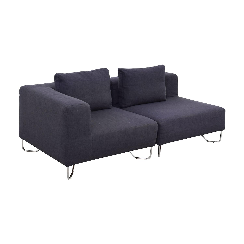 shop CB2 Two-Piece Navy Sofa CB2 Sofas
