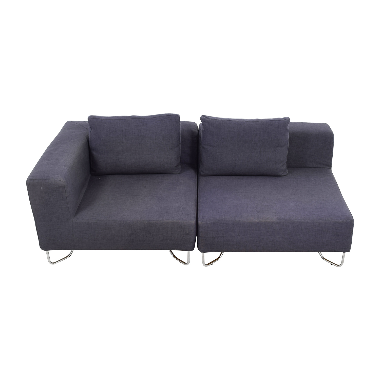 CB2 CB2 Two-Piece Navy Sofa Classic Sofas