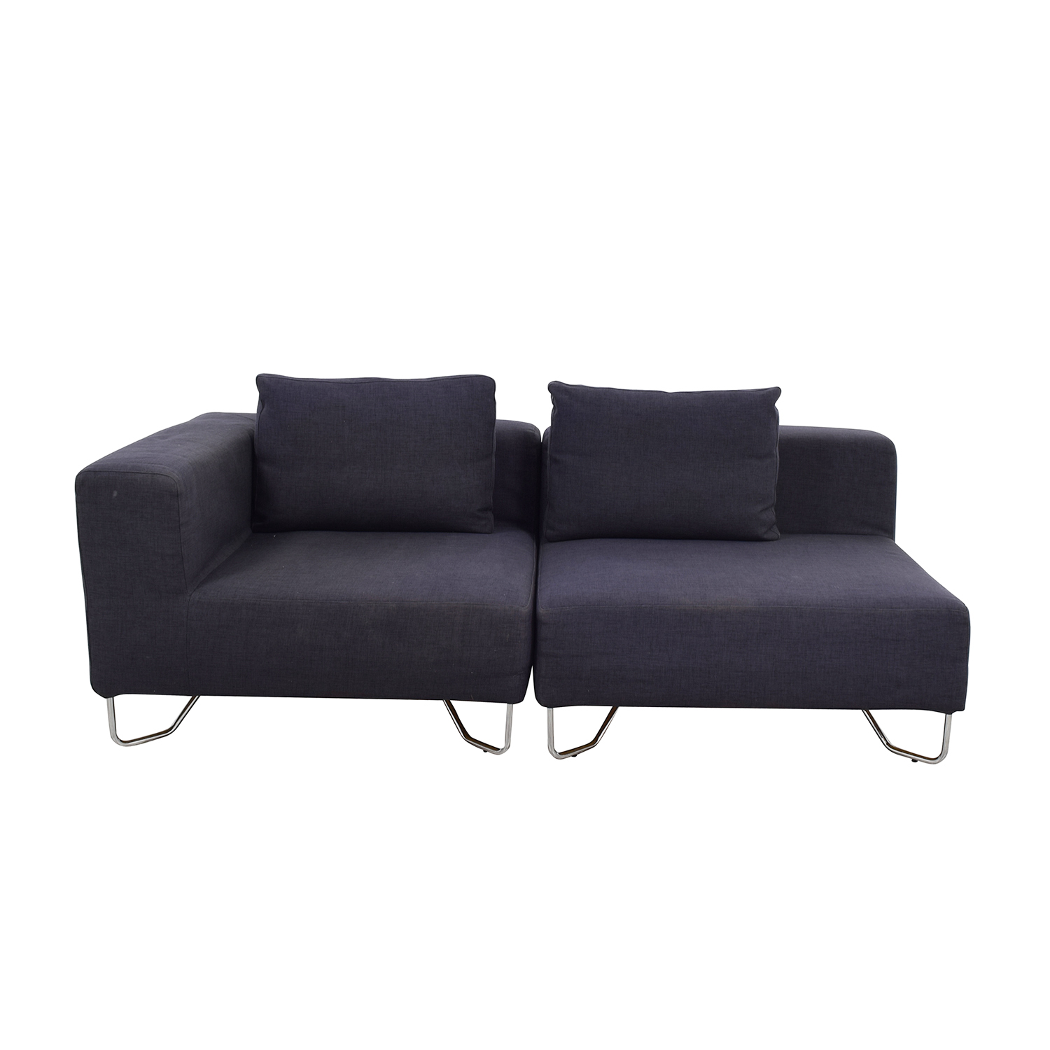 shop CB2 Two-Piece Navy Sofa CB2 Sofas