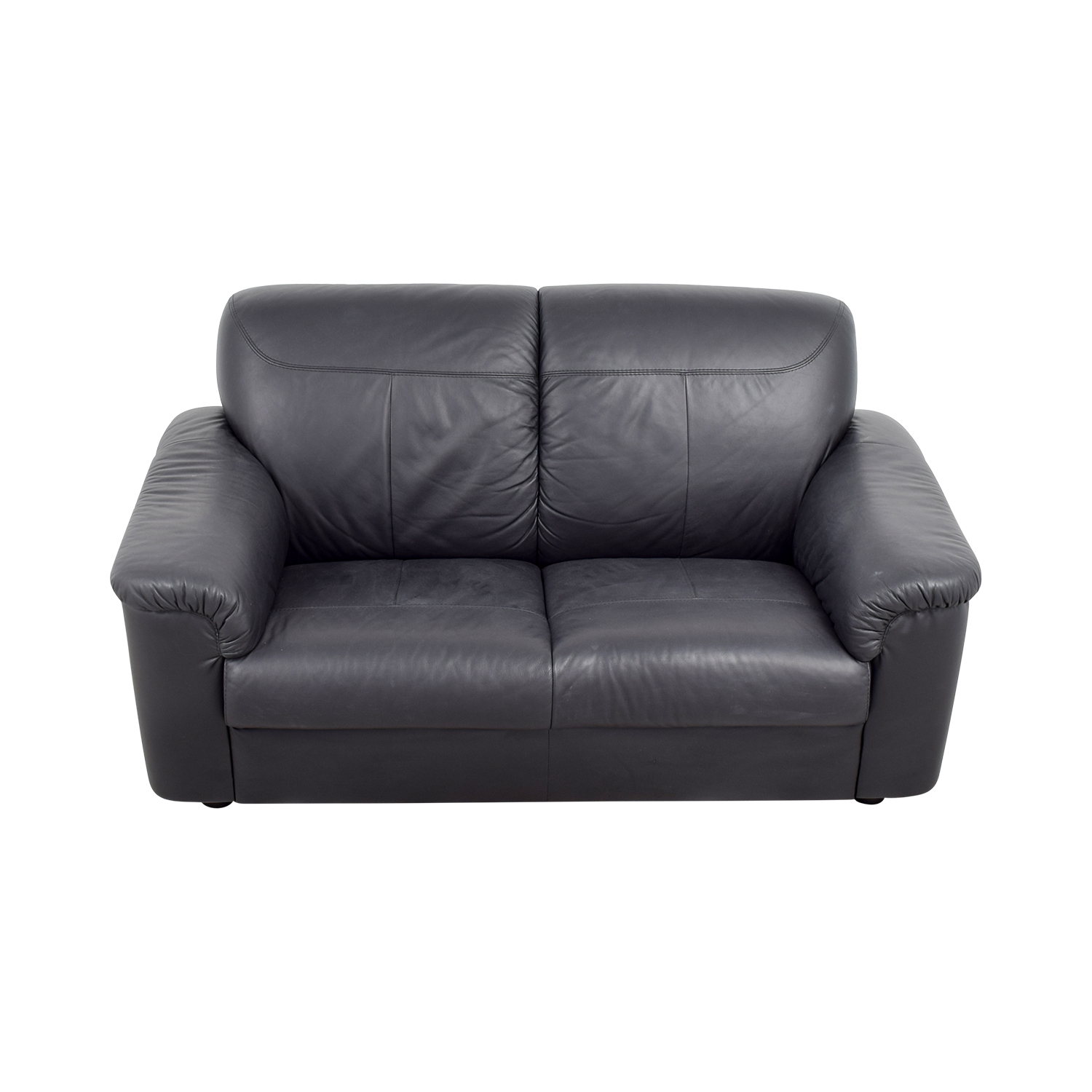 IKEA IKEA Black Leather Loveseat with Pillowed Arms price