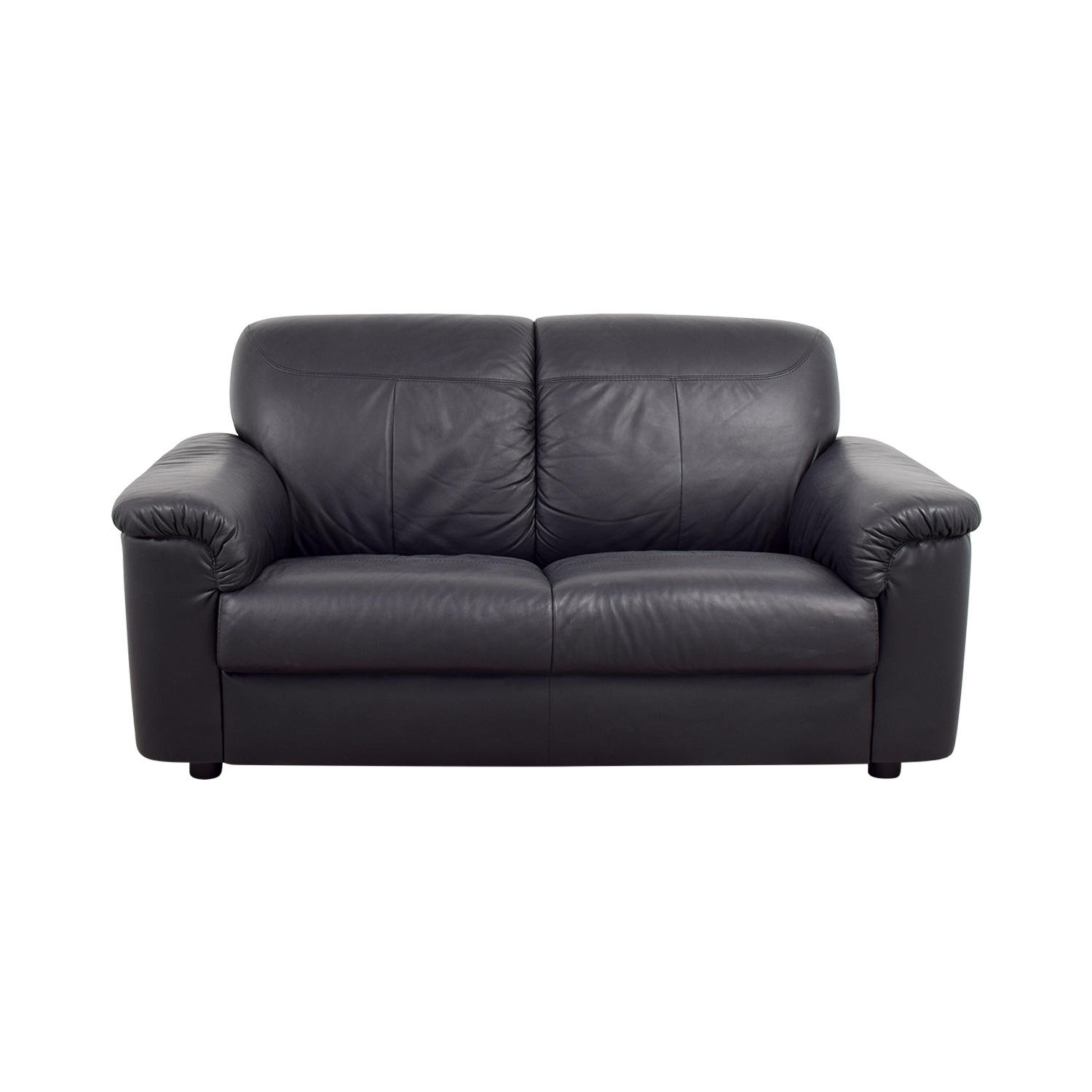 buy IKEA Black Leather Loveseat with Pillowed Arms IKEA