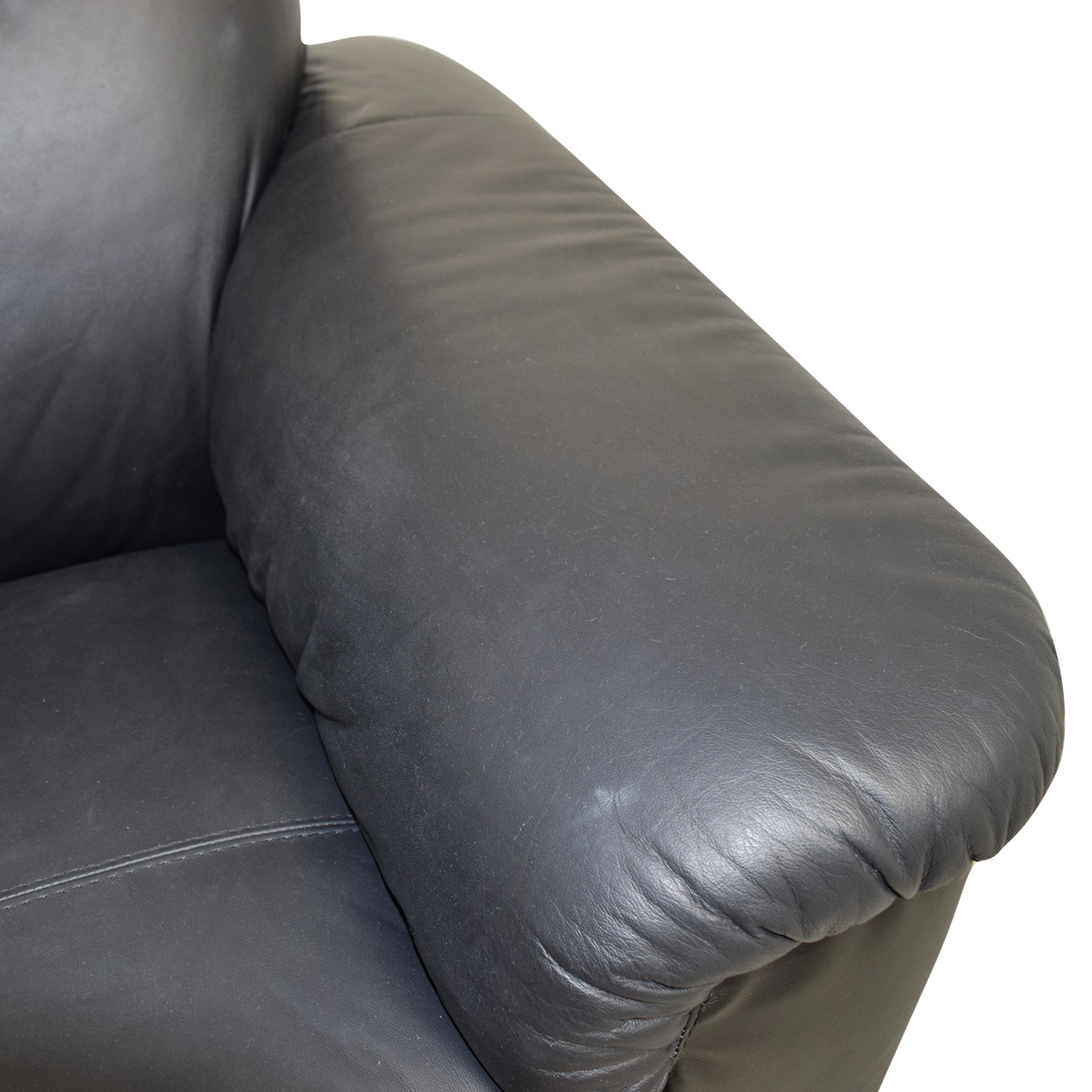 IKEA IKEA Black Leather Loveseat with Pillowed Arms nj