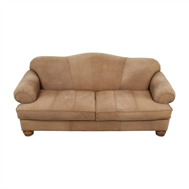 Fantastic 90% OFF - Kincaid Kincaid Camelback Beige Suede Sofa / Sofas VE81