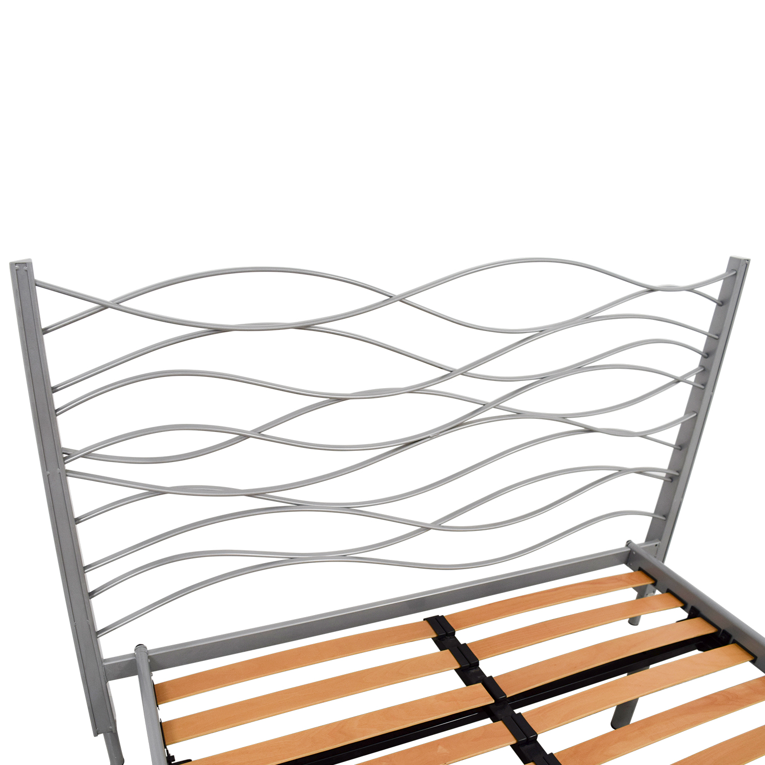 SEE SEE Grey Beech and Metal Wave Design Queen Platform Bed Frame price