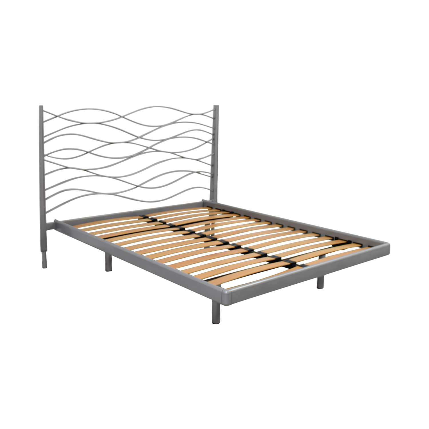 SEE SEE Grey Beech and Metal Wave Design Queen Platform Bed Frame nyc
