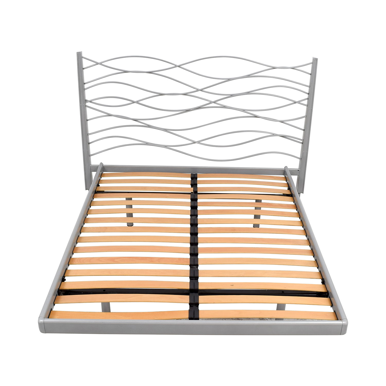 SEE SEE Grey Beech and Metal Wave Design Queen Platform Bed Frame discount