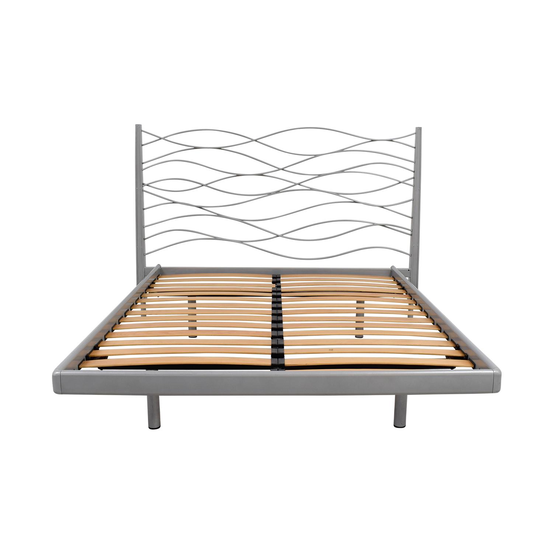 SEE SEE Grey Beech and Metal Wave Design Queen Platform Bed Frame Beech / Grey
