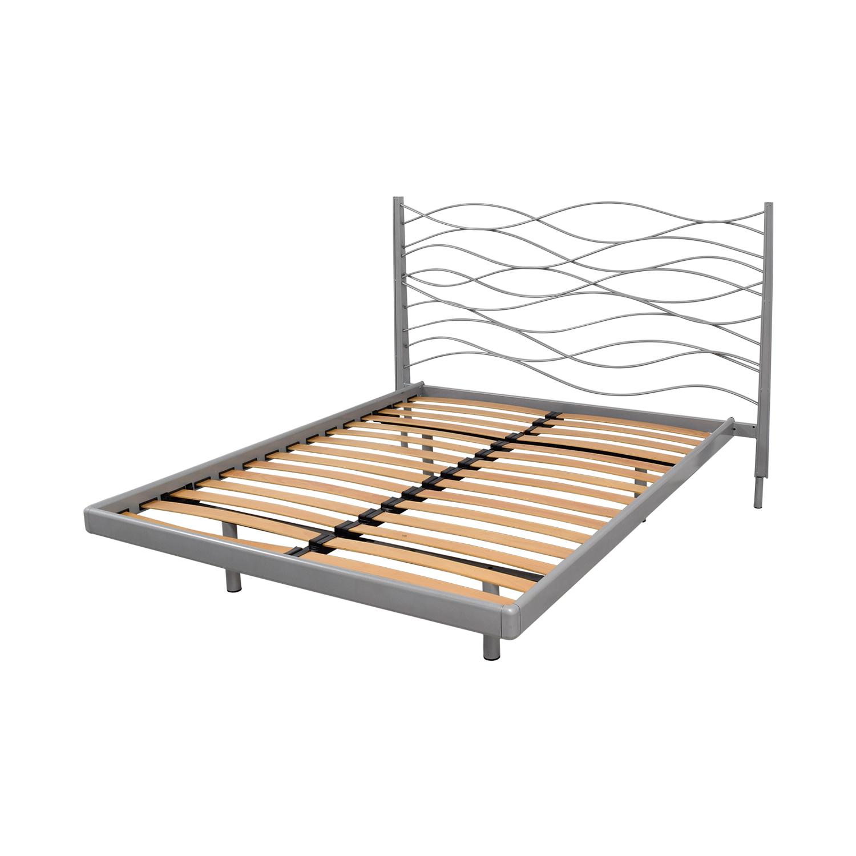 SEE SEE Grey Beech and Metal Wave Design Queen Platform Bed Frame Beds