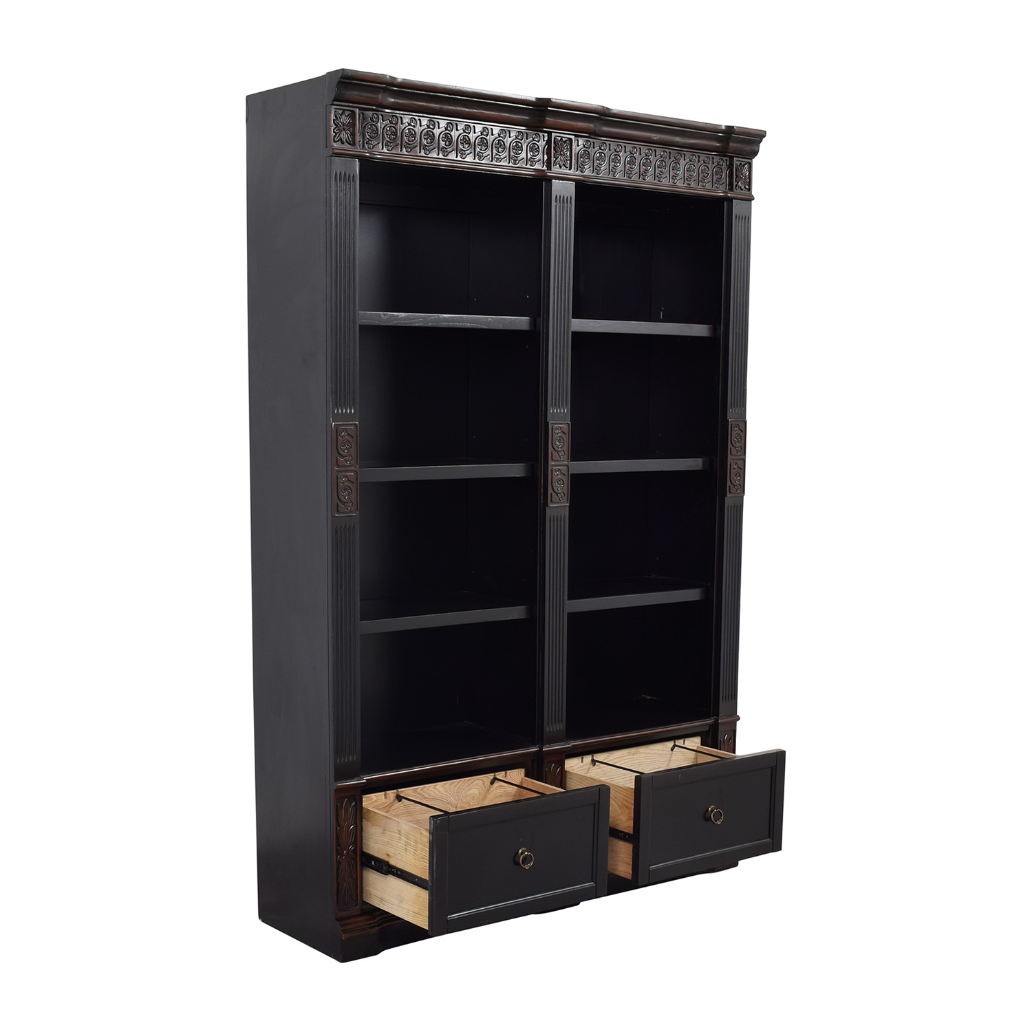 shop Coaster Furnitiure Nicolas Traditional Carved Double Bookcase Coaster Furniture Bookcases & Shelving