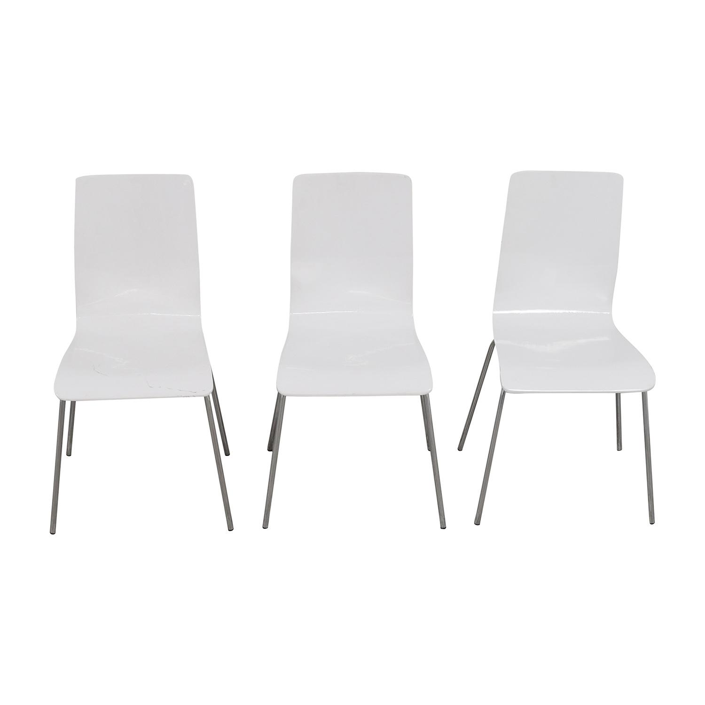 Newspec Newspec Modern Glossy White Dining Chairs discount